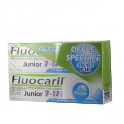 Fluocaril Dentifrice junior 7 à 12 ans, bubble gum, 2x50ml