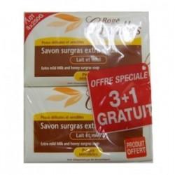 Rogé Cavaillès Savon surgras extra doux lait et miel 4x250g