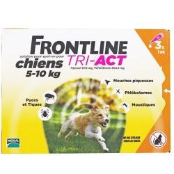 Frontline Tri-Act Spot-on chiens 5 à 10kg 3 pipettes de 1ml