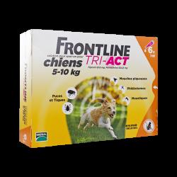 Frontline Tri-Act Spot-on chiens 5 à 10kg 6 pipettes de 1ml