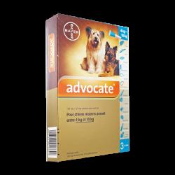 Advocate Spot-on chiens moyens 4 à 10kg 3 pipettes de 1ml