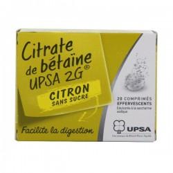 Citrate De Betaine Citron Upsa 2G Sans Sucre 20 Comprimés Efferv