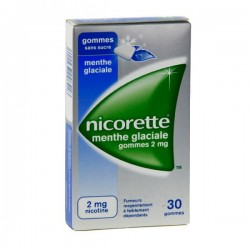 Nicorette Menthe Glaciale 2Mg Sans Sucre 30 Gommes à Mâcher