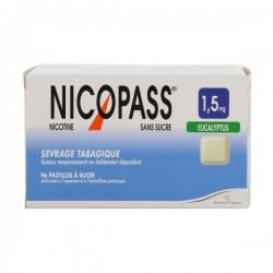 Nicopass 1.5Mg Sans Sucre Eucalyptus 96 Pastilles Édulcorées