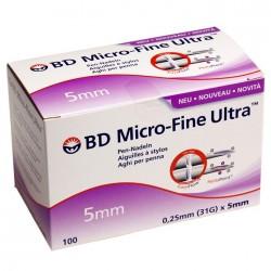 BD Micro-Fine Ultra 5mm Aiguilles à stylos 100