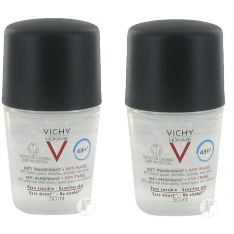 Vichy Homme anti-transpirant anti-traces peau sensible 48h 2x50ml
