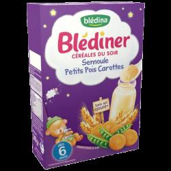 Blédina Blédiner Céréales Semoule Petits Pois Carottes, 240g