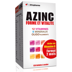 Azinc Forme et vitalité Adultes 2 mois 120 gélules