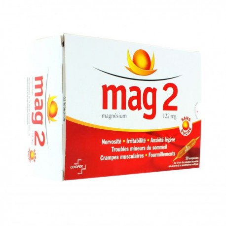 Mag 2 Sans Sucre 122 mg solution buvable 30 ampoules de 10ml