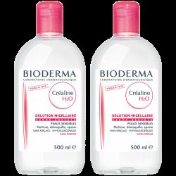 Bioderma Créaline H2O solution micellaire sans parfum, 2x500ml
